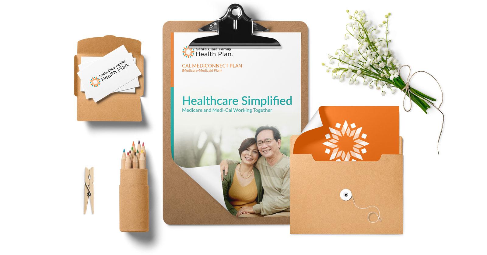 santa clara family health plan brand logo design stationery set