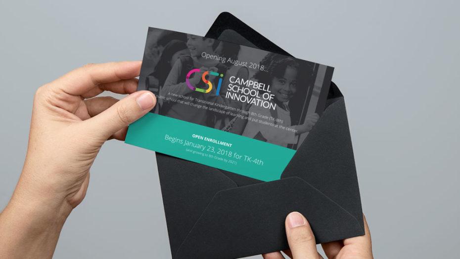 Campbell School of Innovation invitation logo design postcard