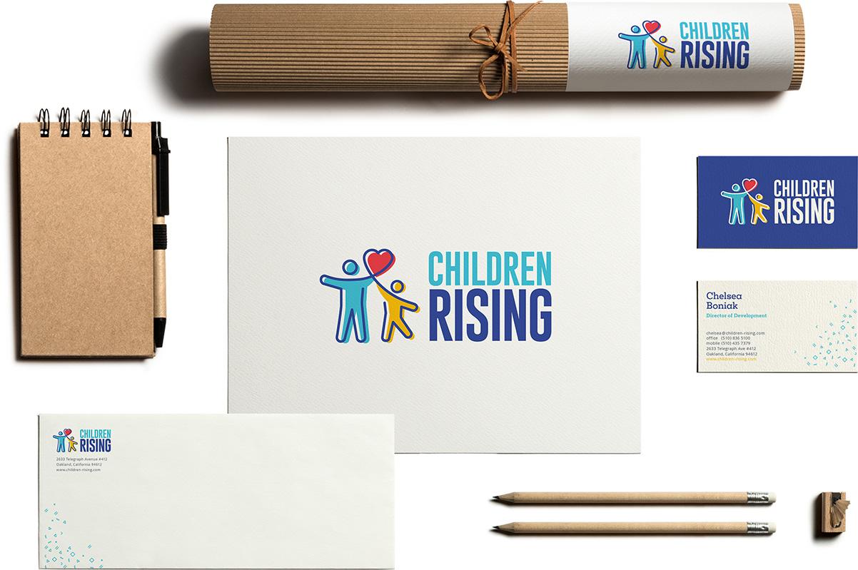children rising logo design branding stationery set